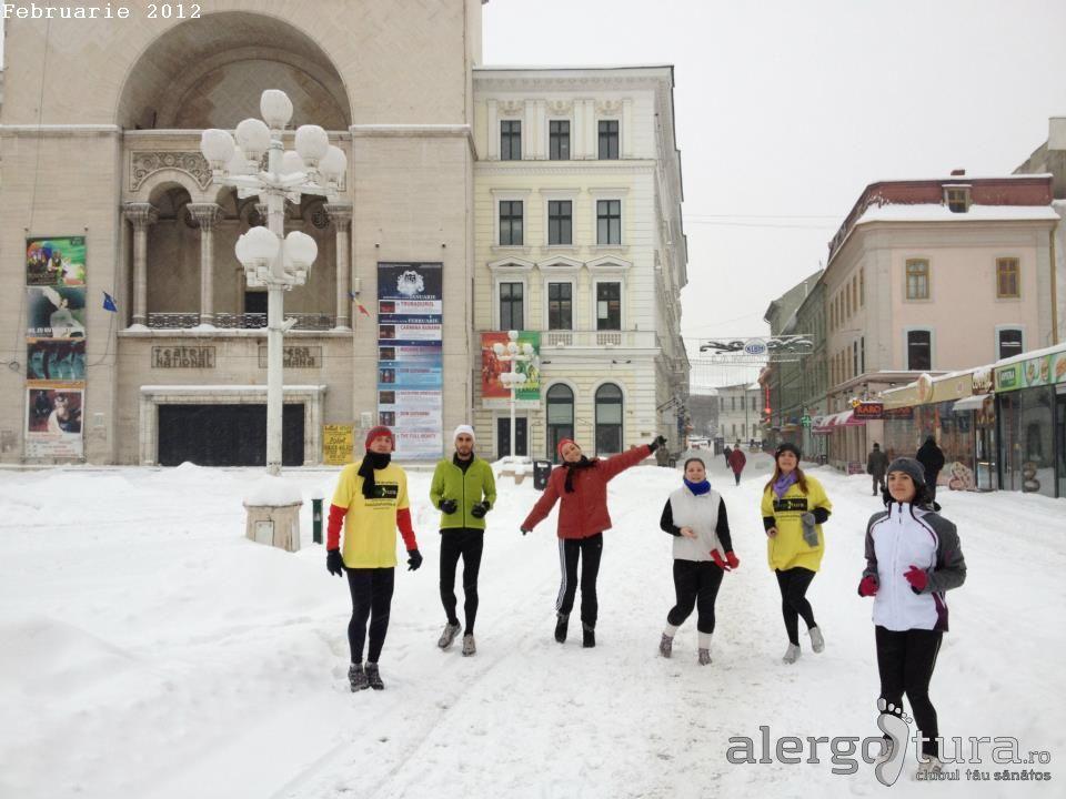 Alergare iarna prin centrul Timisoarei