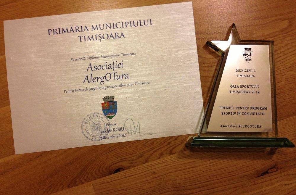 Alergotura e premiata la Gala sportului timisorean 2012 de catre primaria municipiului